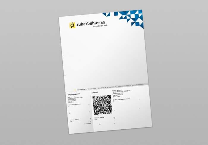 QR-Rechnung A4 mit Einzahlungsschein (Streifen) - individuell 4-farbig bedruckt mit Text und Logo - perforiert zum abtrennen vom Empfangsschein und Zahlteil