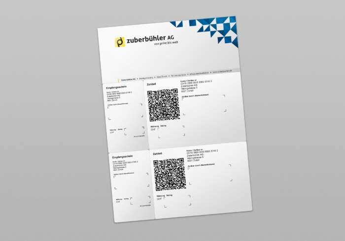 QR-Rechnung A4 mit 2 Einzahlungsscheinen (Streifen) - individuell 4-farbig bedruckt mit Text und Logo - perforiert zum abtrennen vom Empfangsschein und Zahlteil